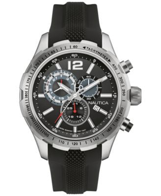 Nautica Men's Chronograph Black Silicone Strap Watch 45mm NAD15512G