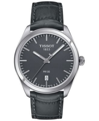 Tissot Men's Swiss PR 100 Gunmetal Leather Strap Watch 39mm T1014101644100