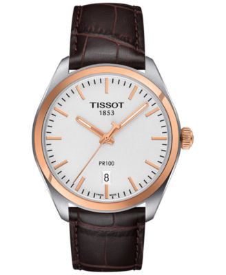 Tissot Men's Swiss PR 100 Brown Leather Strap Watch 39mm T1014102603100