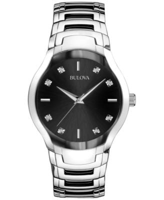 Bulova Men's Diamond Accent Stainless Steel Bracelet Watch 39mm 96D117