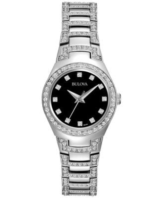 Bulova Women's Crystal Stainless Steel Bracelet Watch 25mm 96L170