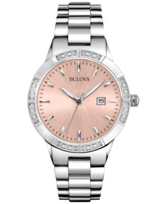 Bulova Women's Diamond Accent Stainless Steel Bracelet Watch 32mm 96R175