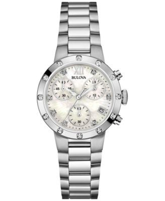 Bulova Women's Chronograph Maiden Lane Diamond Accent Stainless Steel Bracelet Watch 30mm 96R202