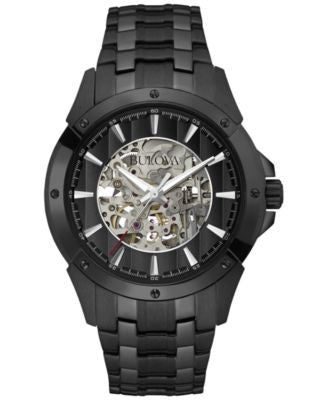 Bulova Men's Automatic Black-Tone Stainless Steel Bracelet Watch 40mm 98A147