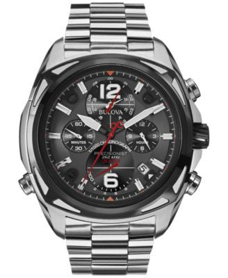 Bulova Men's Chronograph Precisionist Stainless Steel Bracelet Watch 48mm 98B227