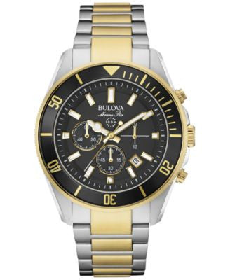 Bulova Men's Chronograph Marine Star Two-Tone Stainless Steel Bracelet Watch 43mm 98B249