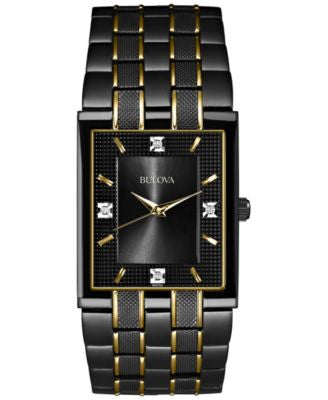 Bulova Men's Diamond Accent Black and Gold-Tone Stainless Steel Bracelet Watch 30mm 98D004