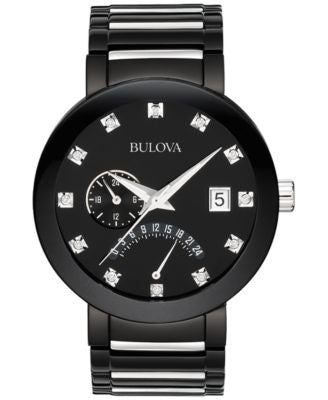 Bulova Men's Diamond Accent Black Tone Stainless Steel Bracelet Watch 40mm 98D109