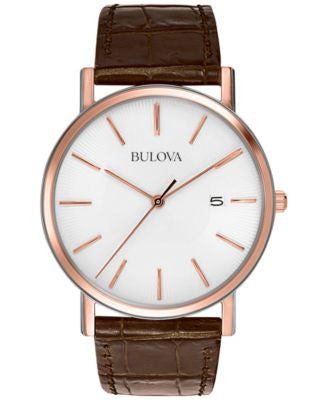 Bulova Men's Brown Leather Strap Watch 37mm 98H51