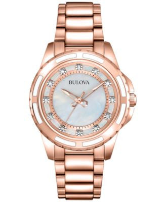 Bulova Women's Diamond Accent Rose Gold-Tone Stainless Steel Bracelet Watch 32mm 98P141