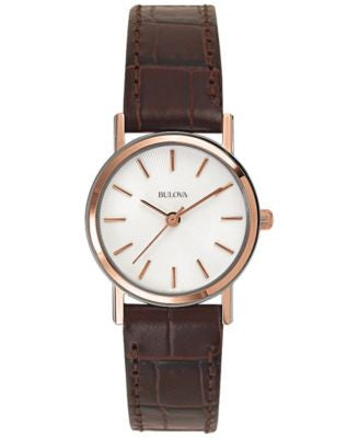 Bulova Women's Brown Leather Strap Watch 25mm 98V31