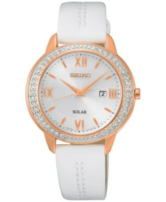 Seiko Women's Solar Recraft Series White Leather Strap Watch 32mm SUT248
