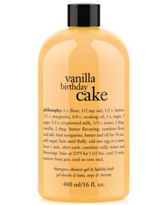 philosophy vanilla birthday cake ultra rich 3-in-1 shampoo, body wash, and bubble bath, 16 oz.
