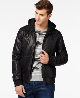 GUESS Faux-Leather Mixed Media Hooded Bomber