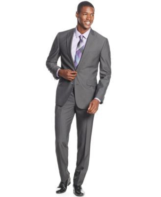 Kenneth Cole Reaction Charcoal Pinstripe Slim-Fit Suit