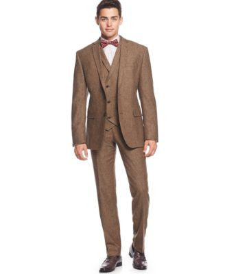 Bar III Brown Tweed Vested Slim-Fit Suit Separates