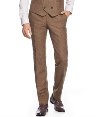 Bar III Brown Tweed Slim-Fit Pants, Only at Vogily