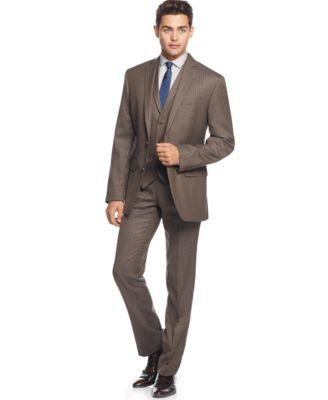 Bar III Olive Multi Check Slim-Fit Separates