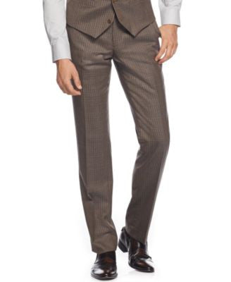 Bar III Olive Multi-Check Slim-Fit Pants, Only at Vogily