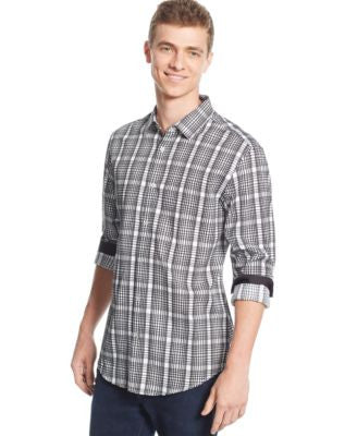 Alfani Big and Tall Slim-Fit Checked Long-Sleeve Shirt