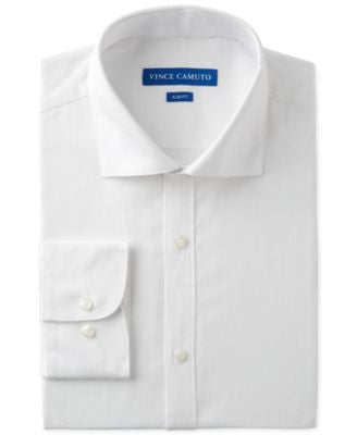 Vince Camuto Slim-Fit White Textured Dobby Dress Shirt