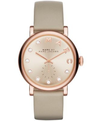 Marc by Marc Jacobs Women's Baker Dexter Gray Leather Strap Watch 36mm MBM1400
