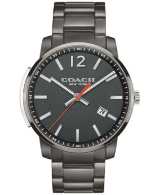 COACH MEN'S BLEECKER SLIM GUNMETAL ION-PLATED BRACELET WATCH 42MM 14602002, Vogily EXCLUSIVE