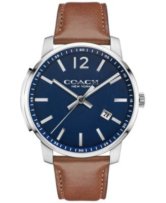 COACH MEN'S BLEECKER RUSSET LEATHER STRAP WATCH 42MM 14602004, Vogily EXCLUSIVE