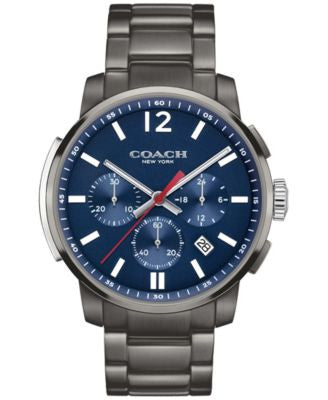COACH MEN'S BLEECKER CHRONO GRAY ION-PLATED BRACELET WATCH 42MM 14602010, Vogily EXCLUSIVE