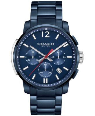 COACH MEN'S BLEECKER CHRONO BLUE ION-PLATED BRACELET WATCH 42MM 14602012, Vogily EXCLUSIVE
