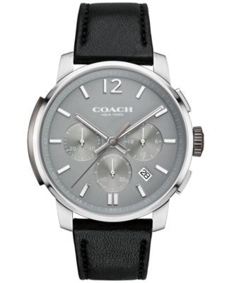 COACH MEN'S BLEECKER CHRONO BLACK LEATHER STRAP WATCH 42MM 14602013, Vogily EXCLUSIVE