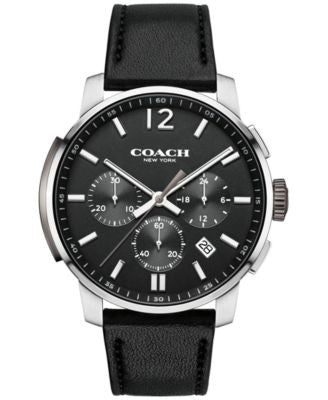 COACH MEN'S CHRONOGRAPH BLEECKER BLACK LEATHER STRAP WATCH 42MM 14602014, ONLY AT Vogily