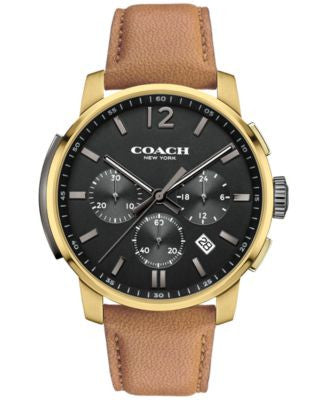 COACH MEN'S BLEECKER CHRONO CAMEL LEATHER STRAP WATCH 42MM 14602016, Vogily EXCLUSIVE