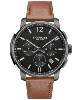 COACH MEN'S BLEECKER CHRONO BROWN LEATHER STRAP WATCH 42MM 14602017, Vogily EXCLUSIVE