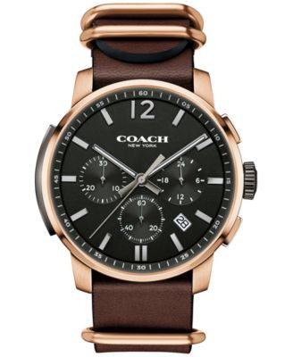 COACH MEN'S BLEECKER CHRONO MAHOGANY LEATHER STRAP WATCH 42MM 14602019, Vogily EXCLUSIVE
