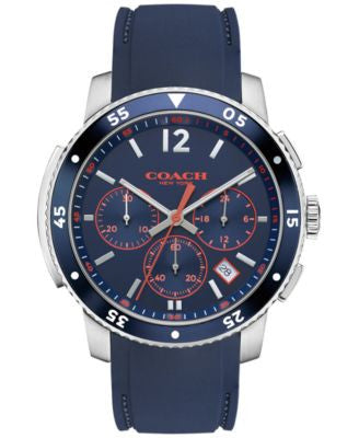 COACH MEN'S BLEECKER SPORT BLUE RUBBER STRAP WATCH 44MM 14602030, Vogily EXCLUSIVE