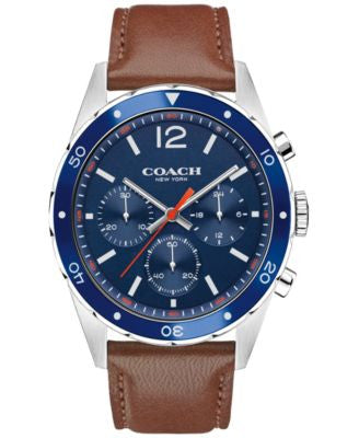 COACH MEN'S CHRONOGRAPH SULLIVAN SPORT BROWN LEATHER STRAP WATCH 44MM 14602038, Vogily EXCLUSIVE