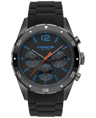 COACH MEN'S CHRONOGRAPH SULLIVAN SPORT BLACK SILICONE STRAP WATCH 44MM 14602044, Vogily EXCLUSIVE