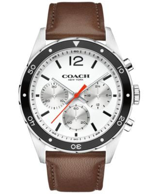 COACH MEN'S CHRONOGRAPH SULLIVAN SPORT BROWN LEATHER STRAP WATCH 44MM 14602057 - ONLY AT Vogily