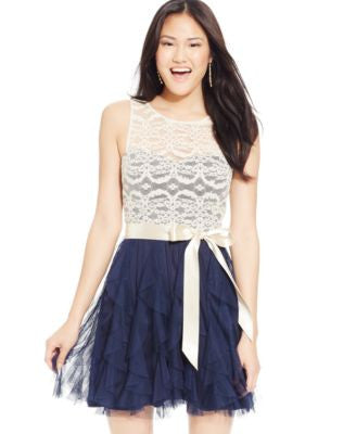 Teeze Me Juniors' Lace Ruffled Dress, A Vogily Exclusive