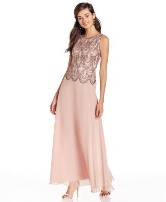 J Kara Sleeveless Beaded Chiffon Gown