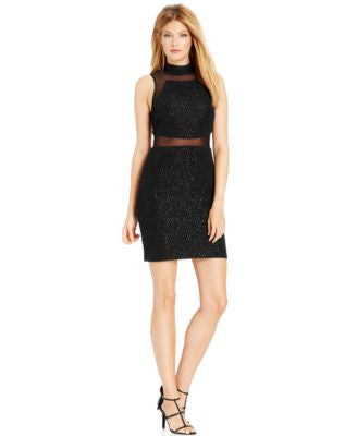 Betsy & Adam Illusion-Combo Sheath Dress
