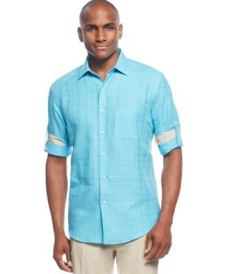 Tasso Elba Big and Tall Island Textured Linen-Blend Shirt, Only at Vogily