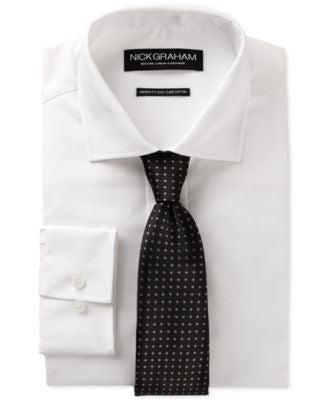 Nick Graham White Dress Shirt and Black Grey Dot Tie Set