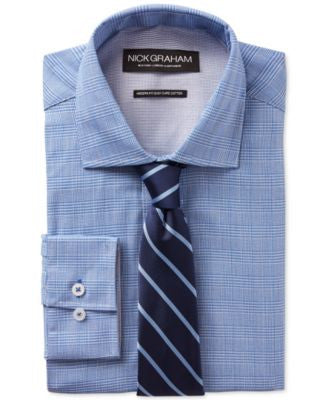Nick Graham Blue Glenplaid Dress Shirt and Navy Stripe Tie Set