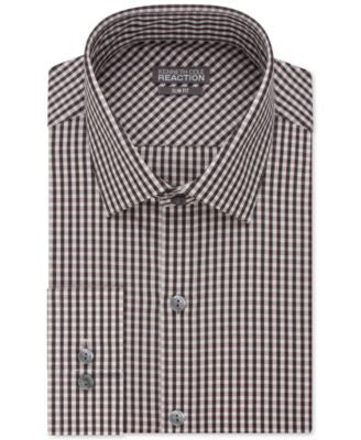 Kenneth Cole Reaction Slim-Fit Performance Walnut Gingham Dress Shirt