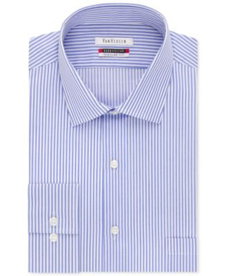 Van Heusen Men's Classic-Fit Wrinkle Free Flex Collar Striped Dress Shirt