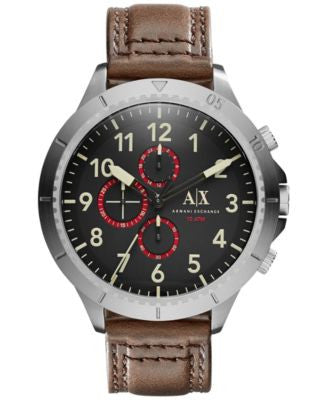 A|X Armani Exchange Men's Chronograph Dark Brown Leather Strap Watch 50mm AX1755