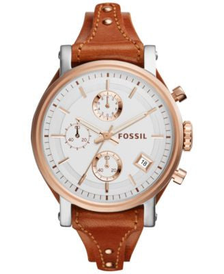 Fossil Women's Chronograph OBF Light Brown Saddle Leather Strap Watch 38mm ES3837