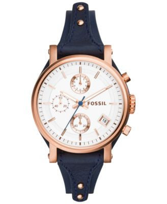 Fossil Women's Chronograph Original Boyfriend Blue Saddle Leather Strap Watch 38mm ES3838